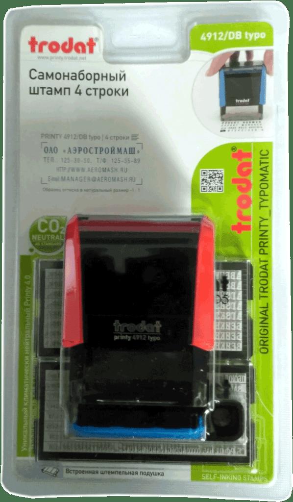Упаковка штампа самонаборного Trodat4912DBtypo